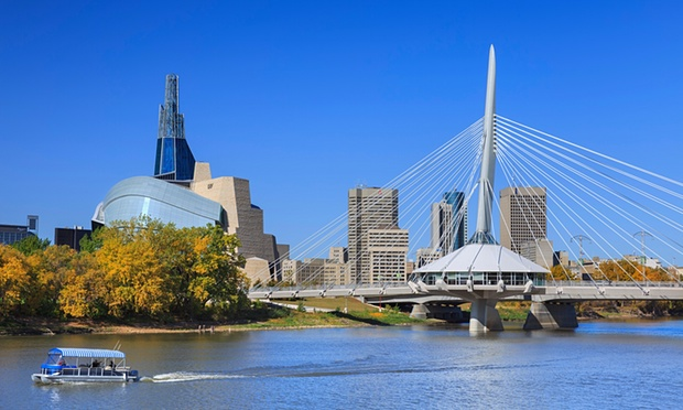 The Canadian Museum for Human Rights (left) and Esplanade Riel Bridge in Winnipeg, Canada. Photograph: Alamy