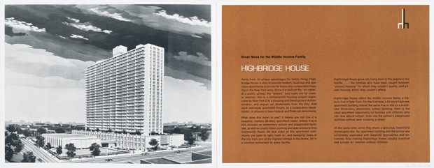 "A 1965 rental brochure for Highbridge House, a Mitchell-Lama development. It reads: ""Highbridge House gives city living back to the people in the middle...the families who have been caught between 'project housing' for which they couldn't qualify, and private housing which they couldn't afford."" (Courtesy Real Estate Brochure Collection, Columbia University)"