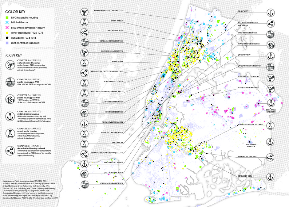 A map of affordable housing sites in New York, color coded by subsidy type. (Courtesy of Matthew Lasner)